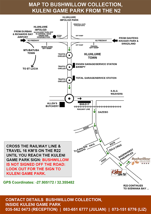 Map to Bushwillow Lodge